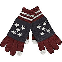 Boys red stars and stripes smart touch gloves