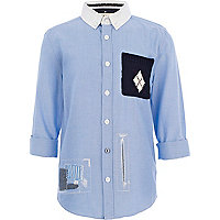Boys blue knitted pocket shirt