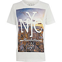 Boys white NYC Manhattan print t-shirt