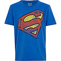 Boys blue slanted superman t-shirt