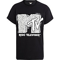 Boys black MTV print tee