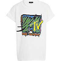 Boys white MTV print t-shirt