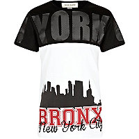 Boys black NYC mesh panel t-shirt
