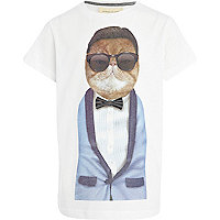 Boys white Pets Rock smart cat t-shirt