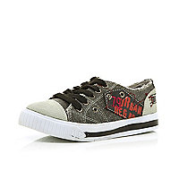 Boys grey denim canvas plimsolls