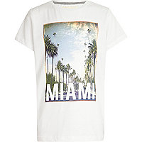 Boys white Miami print t-shirt