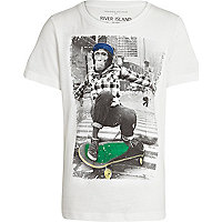 Boys white skateboard monkey t-shirt