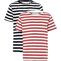 Boys red and navy stripe t-shirts