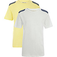 Boys yellow and white shoulder patch t-shirts