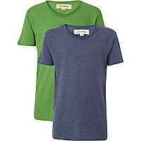 Boys green and blue voop neck t-shirts