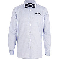 Boys blue Oxford shirt with bow tie