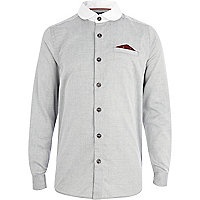 Boys grey penny collar Oxford shirt