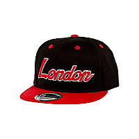 Boys black and red London trucker hat