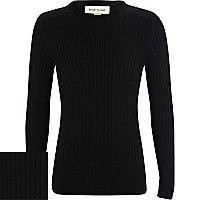 Boys black ribbed shoulder patch jumper