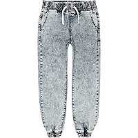 Boys blue acid wash jogger jeans