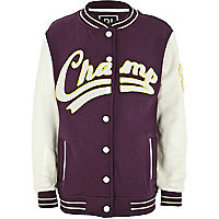 Boys purple champ varsity jacket