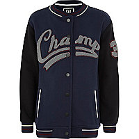 Boys navy champ varsity jacket