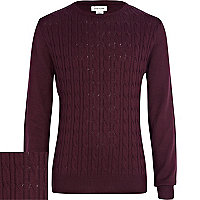 Boys purple cable knit jumper
