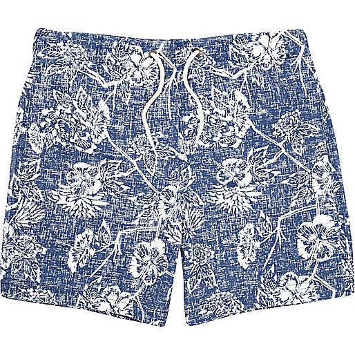 Boys blue floral sketch swim shorts
