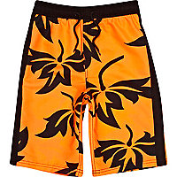 Boys fluro orange print board shorts