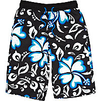 Boys black print board shorts