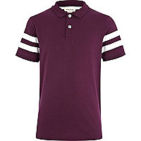 Boys purple varsity stripe polo shirt