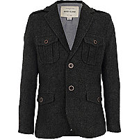 Boys grey tweed military blazer