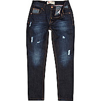 Boys blue dark wash slim jeans