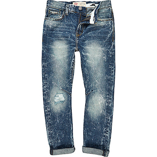 Boys blue worn vintage wash distressed jeans