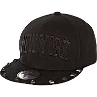 Boys black studded NY trucker hat