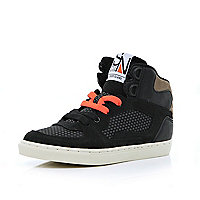 Boys black contrast panel high tops
