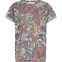 Boys grey tattoo print t-shirt