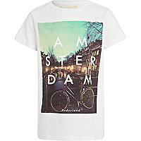 Boys white Amsterdam photograph print t-shirt