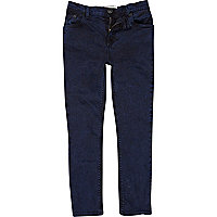 Boys dark blue acid wash skinny jeans