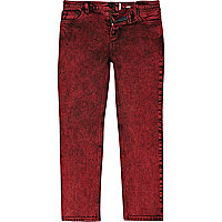 Boys dark red acid wash skinny jeans