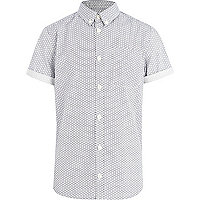 Boys white geometric star print shirt