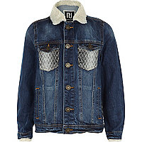 Boys blue denim warm handle mix jacket