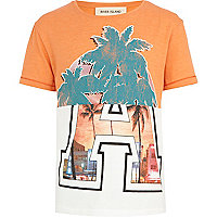 Boys orange palm tree split print tee