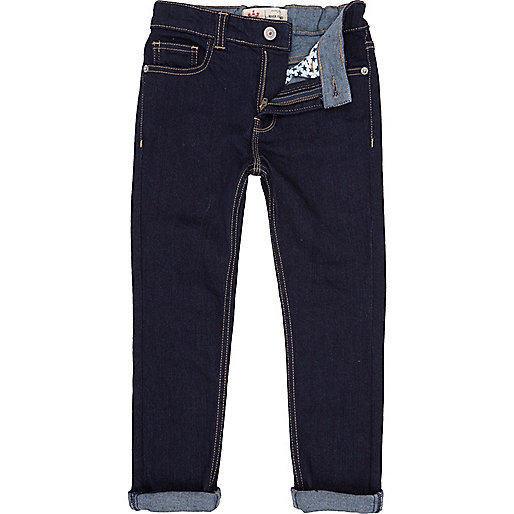 Boys blue raw wash super skinny jeans