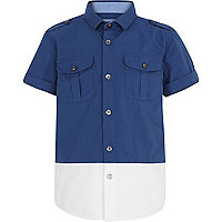 Boys navy blocked military shirt