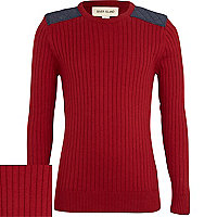 Boys red ribbed shoulder patch jumper