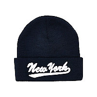 Boys navy New York beanie hat
