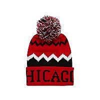 Boys red Chicago bobble beanie hat