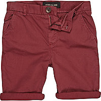 Boys red chino shorts