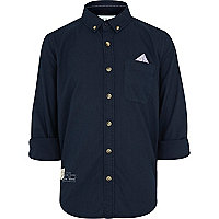 Boys navy spot pocket shirt