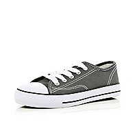 Boys grey lace up canvas plimsolls