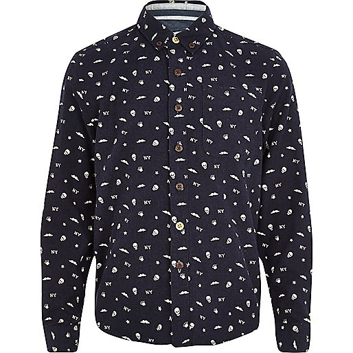 Boys navy skull print shirt