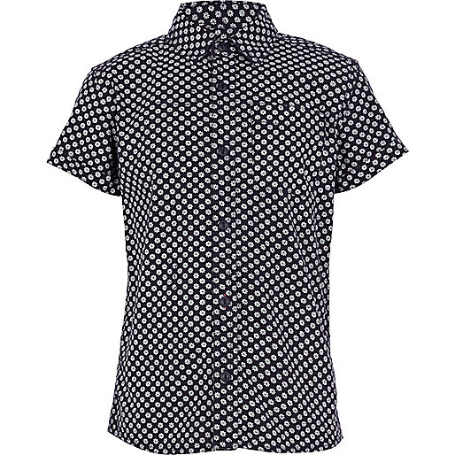 Boys navy geometric print shirt