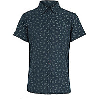 Boys dark green floral print shirt