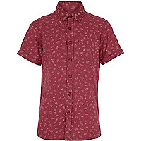 Boys red floral print shirt